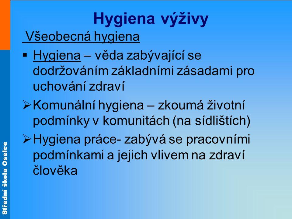 Hygiena výživy Všeobecná hygiena