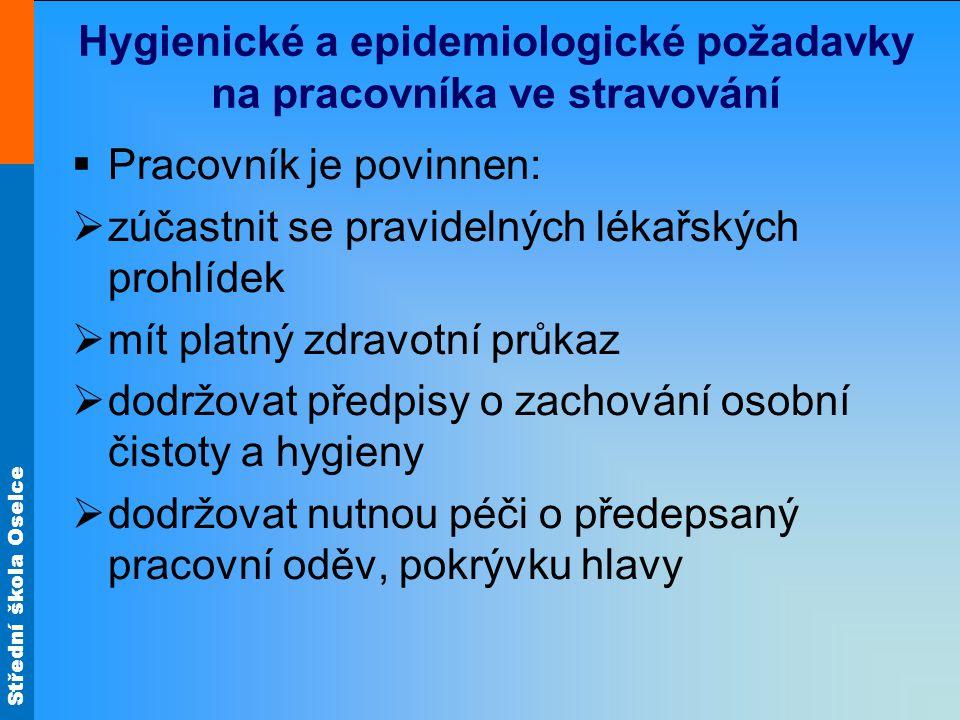 Hygienické a epidemiologické požadavky na pracovníka ve stravování
