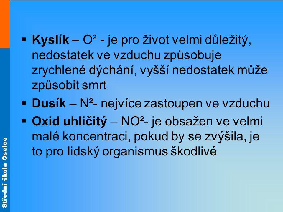 Kyslík – O² - je pro život velmi důležitý, nedostatek ve vzduchu způsobuje zrychlené dýchání, vyšší nedostatek může způsobit smrt
