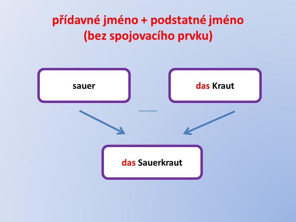 přídavné jméno + podstatné jméno (bez spojovacího prvku)