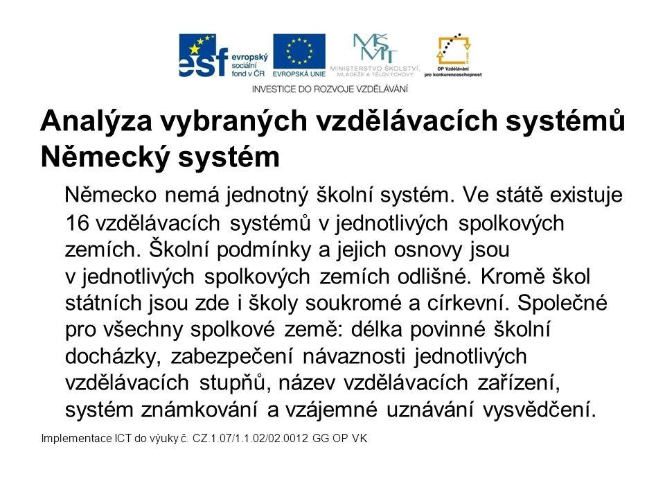Analýza vybraných vzdělávacích systémů Německý systém