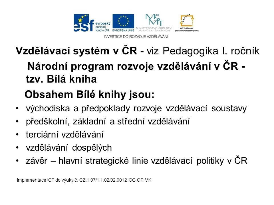 Vzdělávací systém v ČR - viz Pedagogika I. ročník