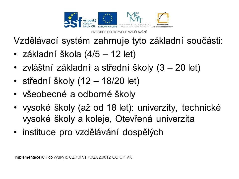 Vzdělávací systém zahrnuje tyto základní součásti: