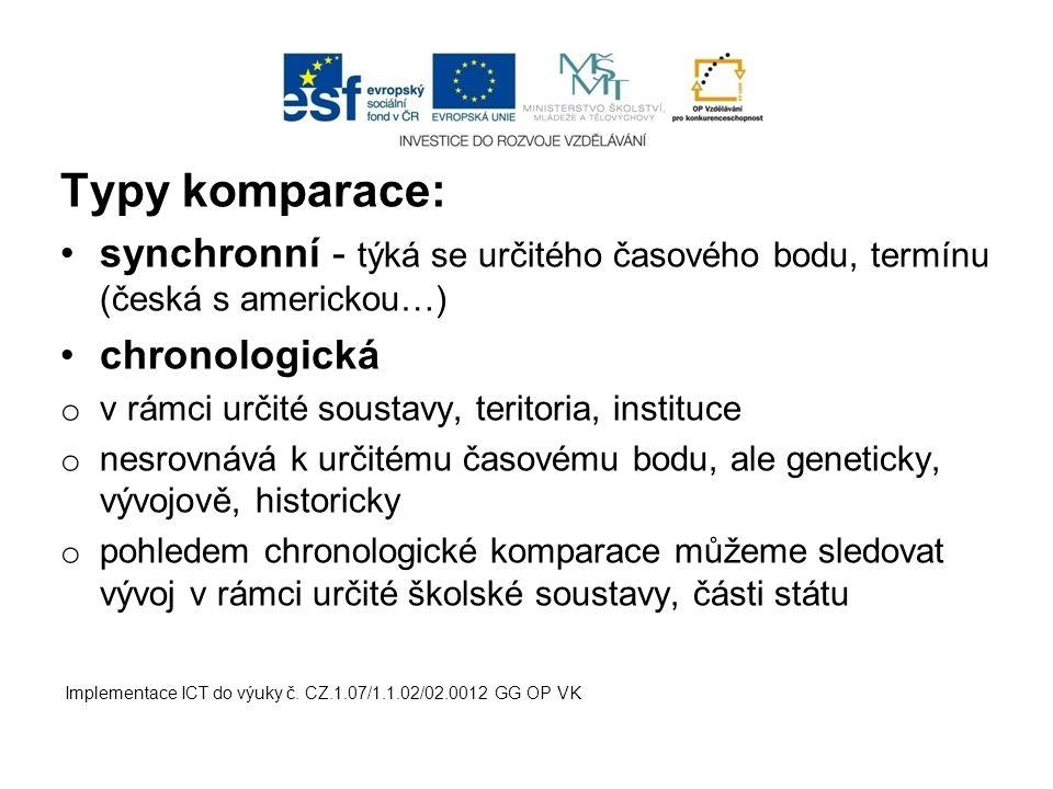 Typy komparace: synchronní - týká se určitého časového bodu, termínu (česká s americkou…) chronologická.