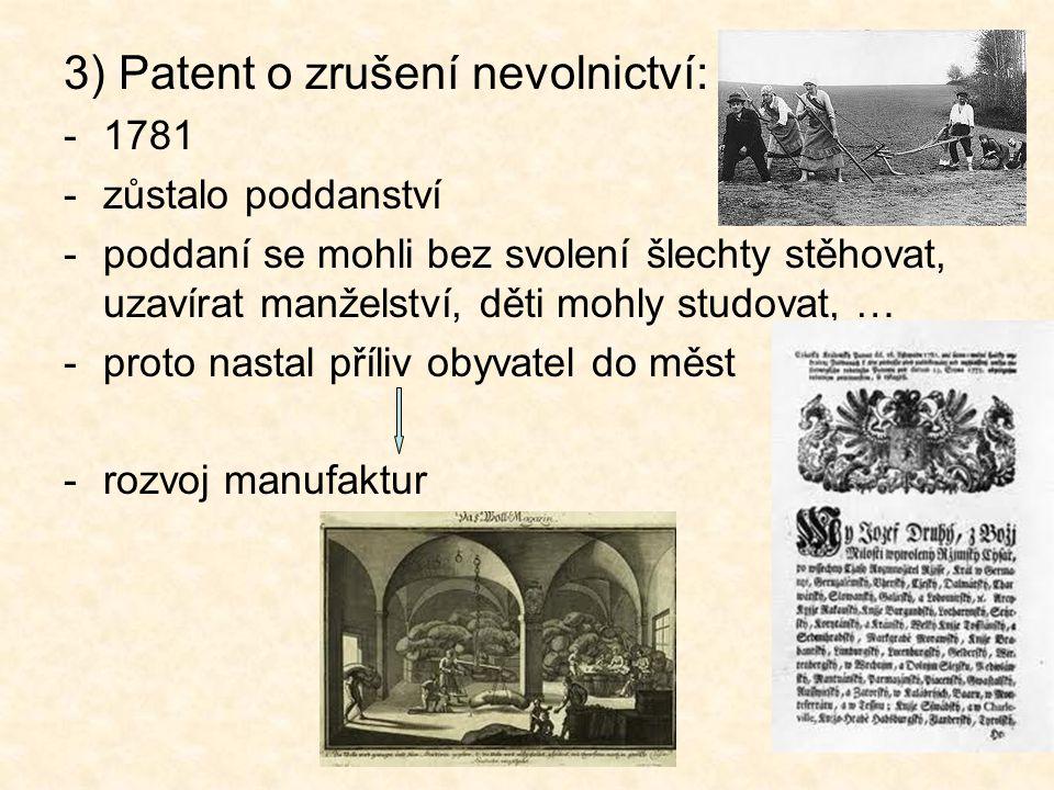 3) Patent o zrušení nevolnictví: