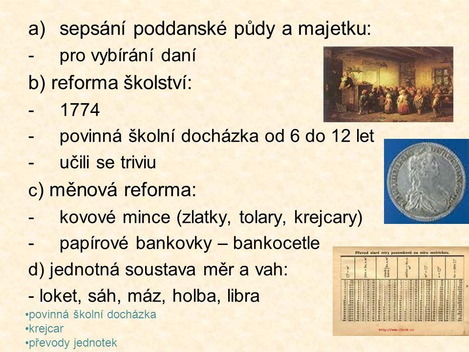 sepsání poddanské půdy a majetku: b) reforma školství: