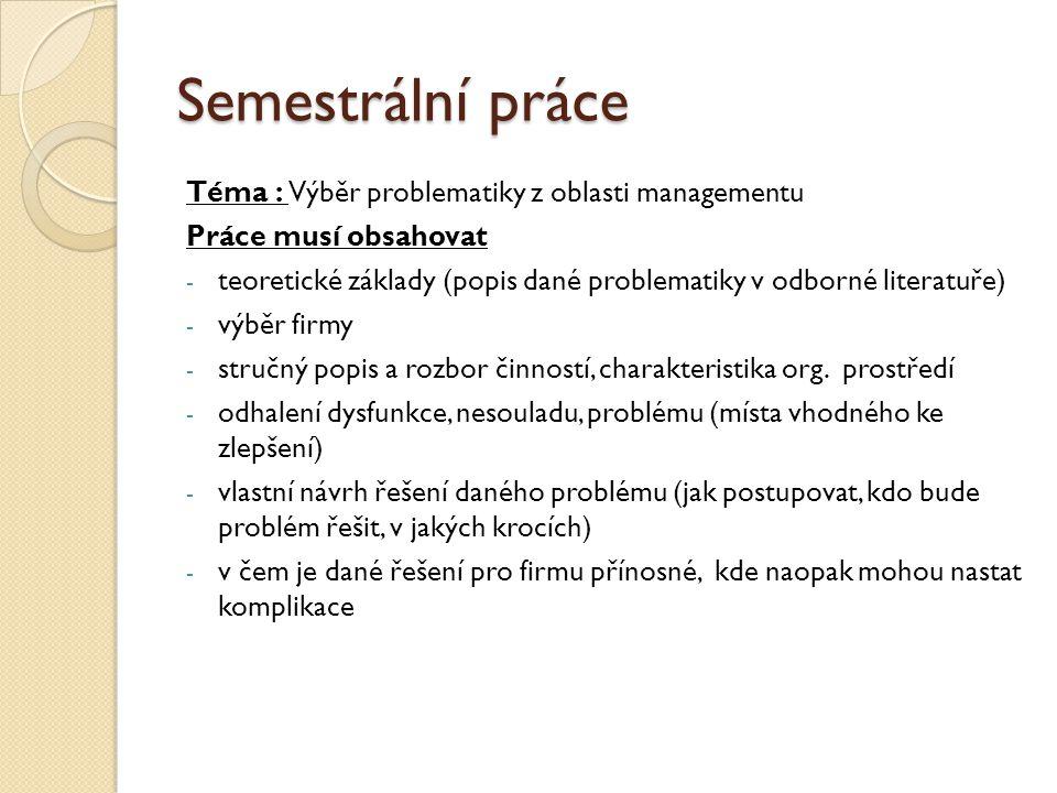 Semestrální práce Téma : Výběr problematiky z oblasti managementu