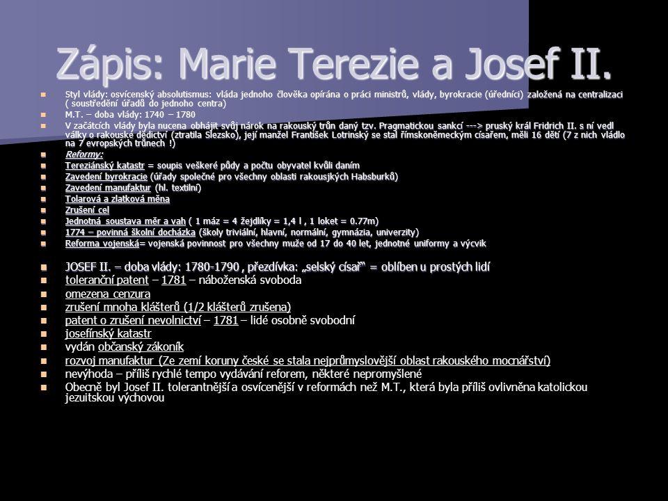Zápis: Marie Terezie a Josef II.