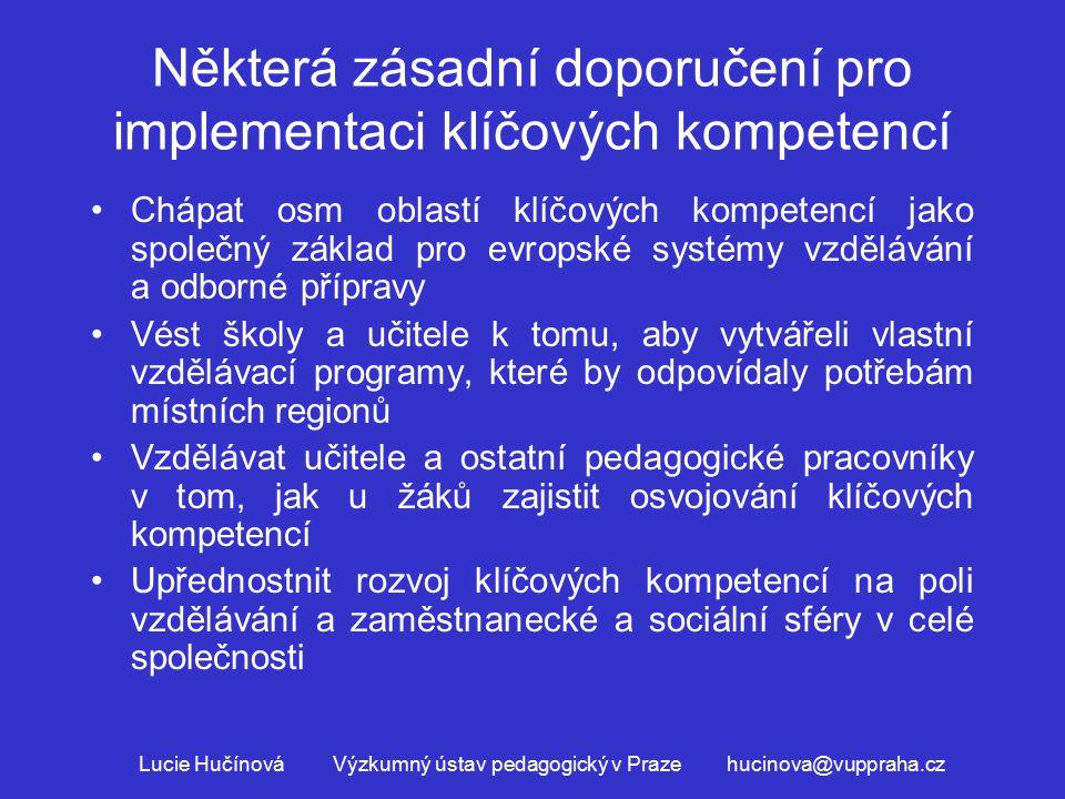 Některá zásadní doporučení pro implementaci klíčových kompetencí