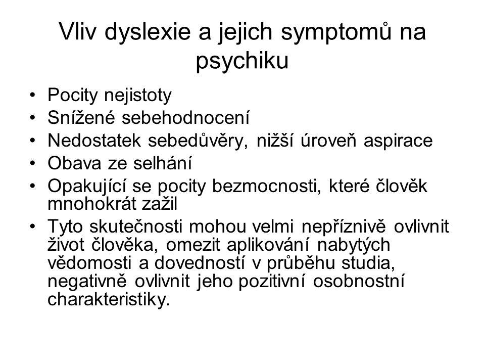 Vliv dyslexie a jejich symptomů na psychiku