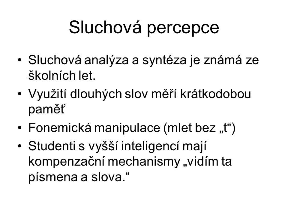 Sluchová percepce Sluchová analýza a syntéza je známá ze školních let.