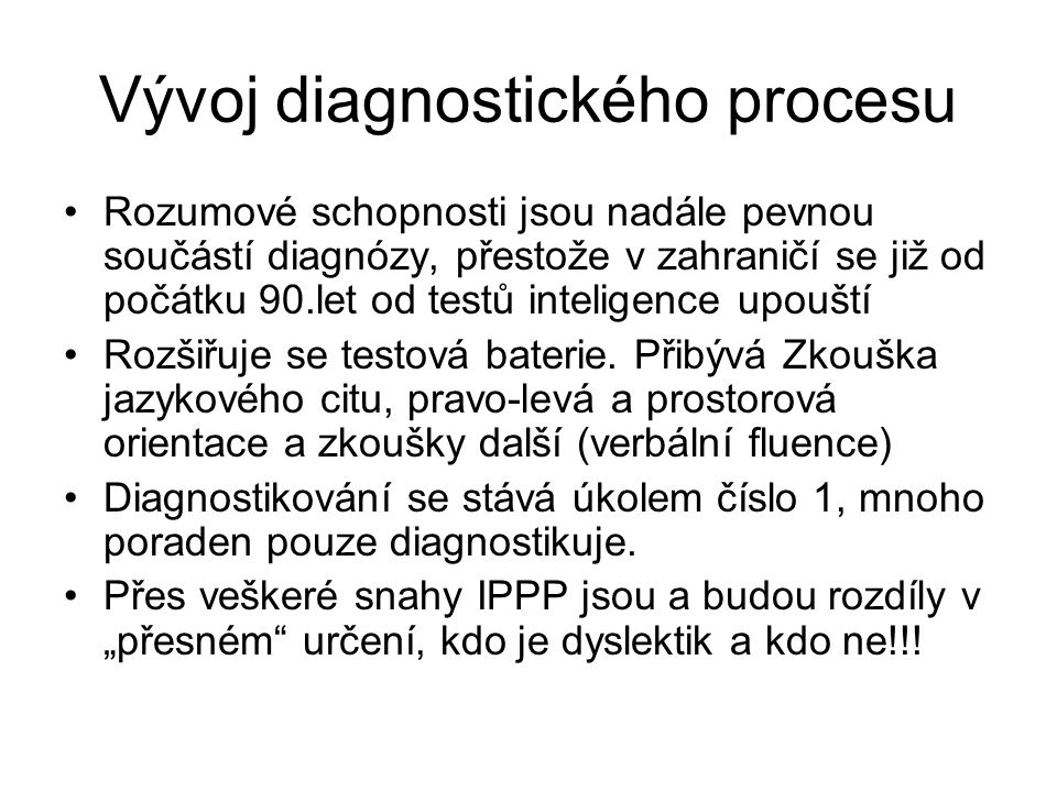 Vývoj diagnostického procesu
