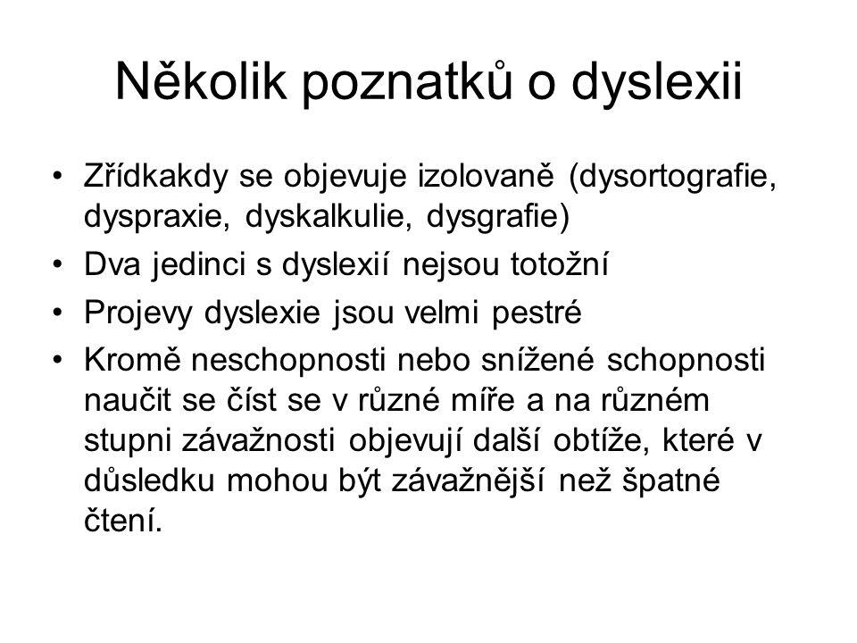 Několik poznatků o dyslexii