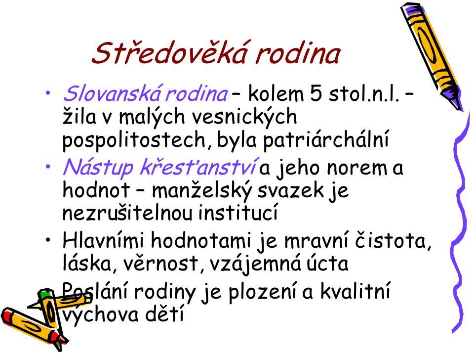 Středověká rodina Slovanská rodina – kolem 5 stol.n.l. – žila v malých vesnických pospolitostech, byla patriárchální.