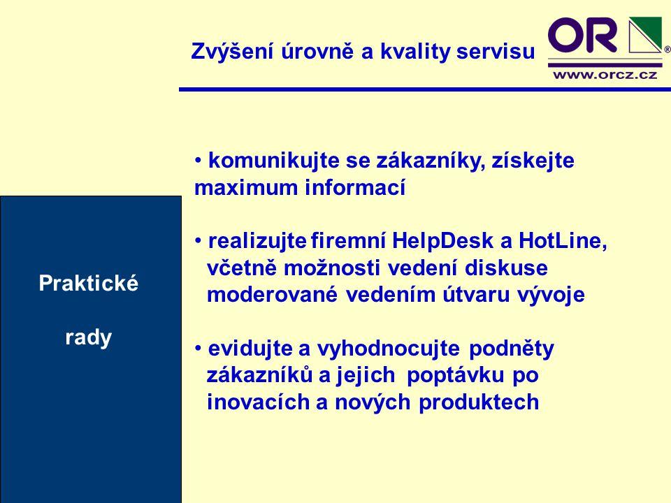 Zvýšení úrovně a kvality servisu