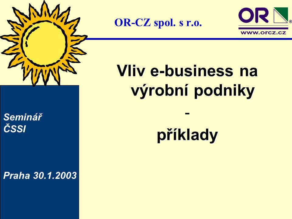 Vliv e-business na výrobní podniky