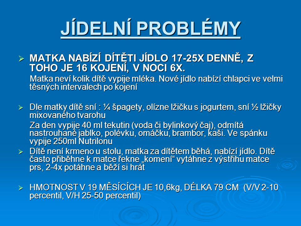 JÍDELNÍ PROBLÉMY MATKA NABÍZÍ DÍTĚTI JÍDLO 17-25X DENNĚ, Z TOHO JE 16 KOJENÍ, V NOCI 6X.