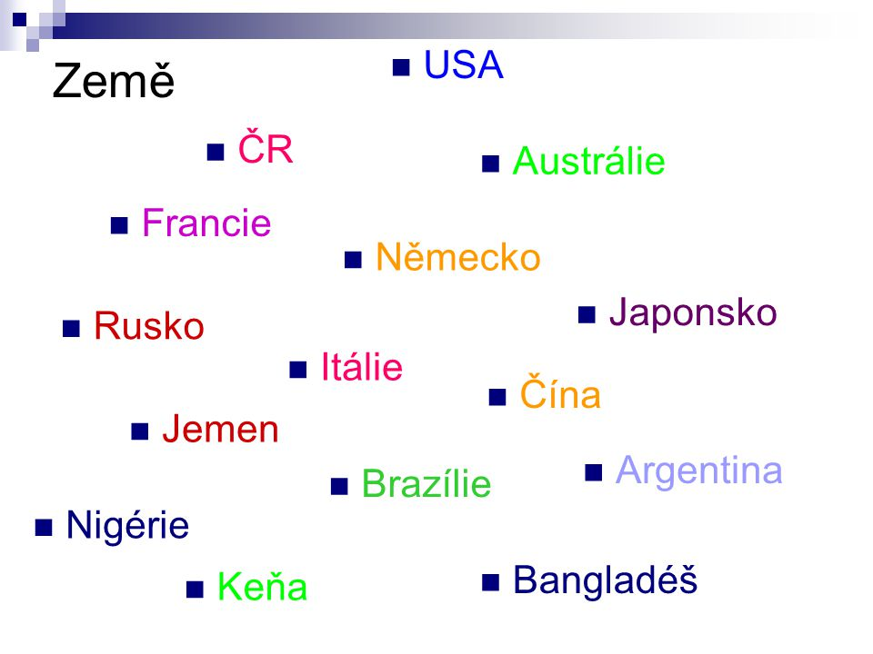 Země USA ČR Austrálie Francie Německo Japonsko Rusko Itálie Čína Jemen