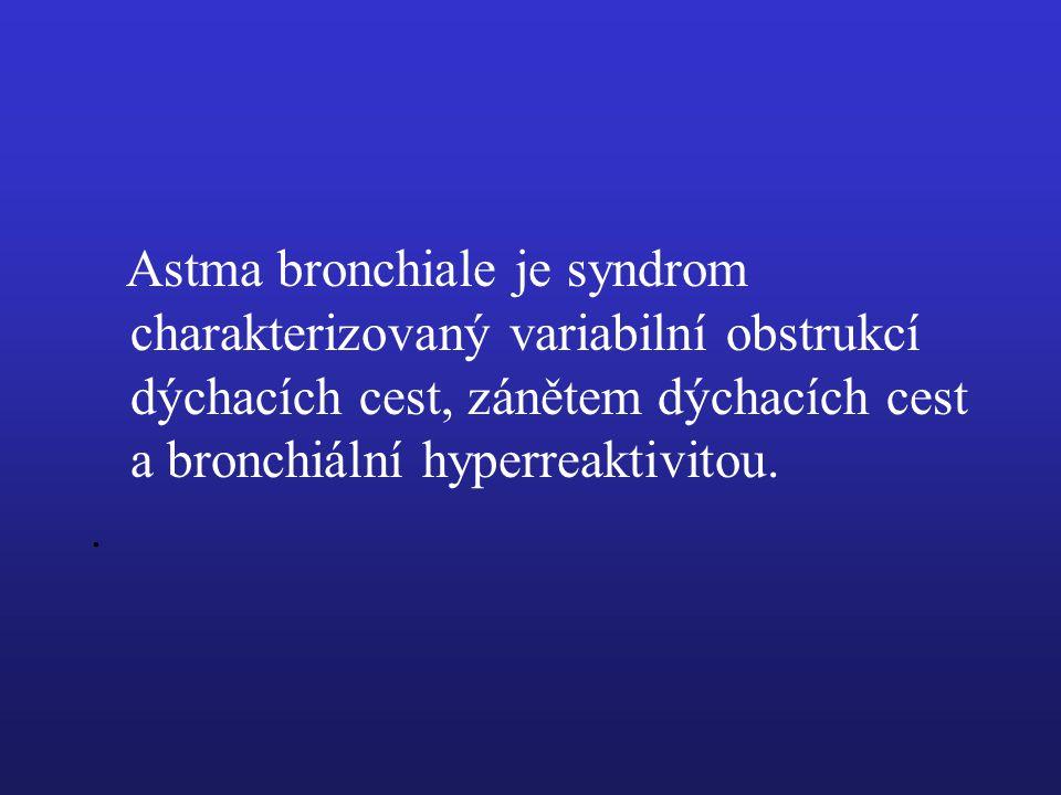 Astma bronchiale je syndrom charakterizovaný variabilní obstrukcí dýchacích cest, zánětem dýchacích cest a bronchiální hyperreaktivitou.