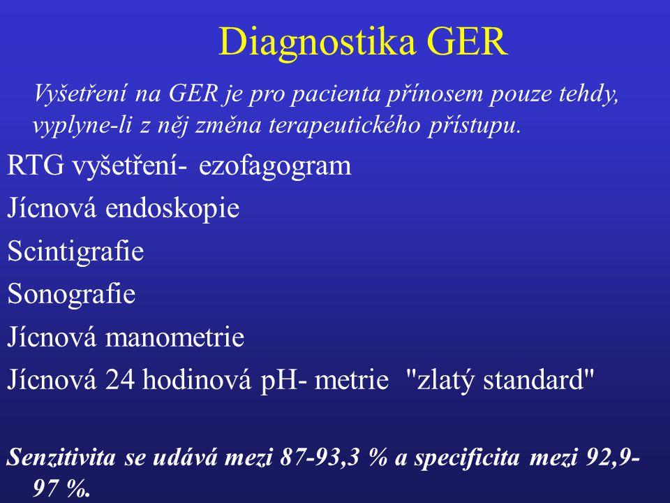 Diagnostika GER RTG vyšetření- ezofagogram Jícnová endoskopie