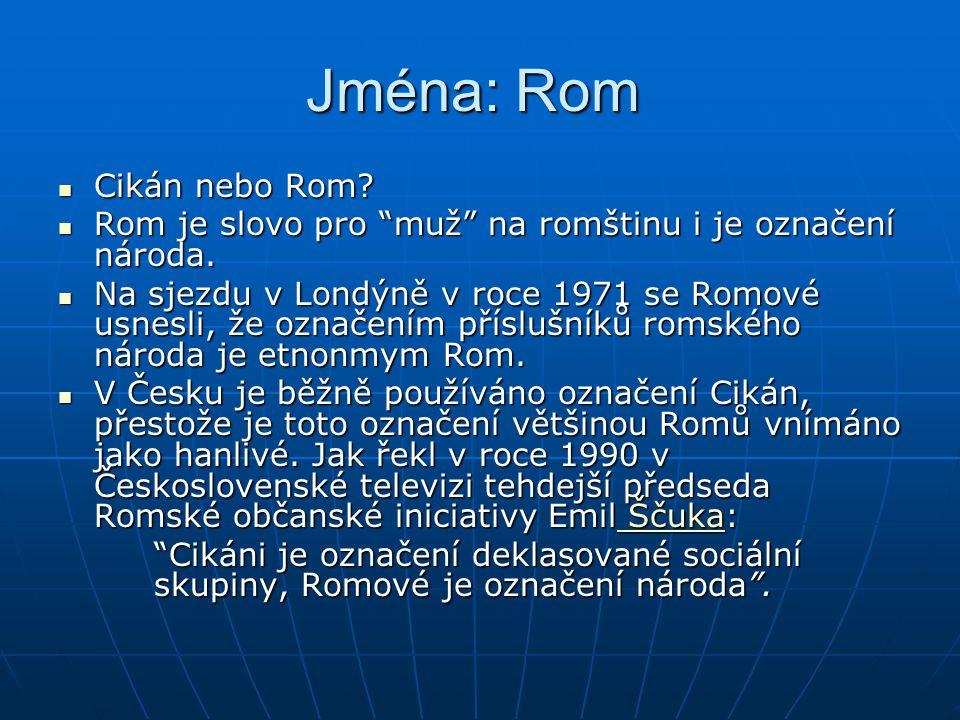Jména: Rom Cikán nebo Rom