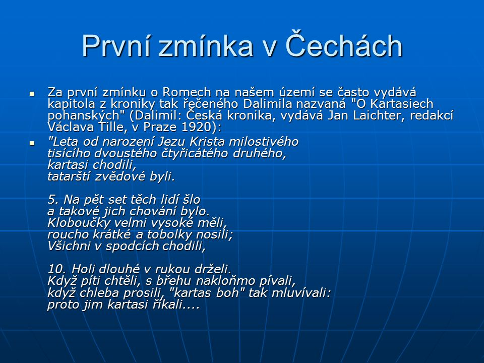 První zmínka v Čechách