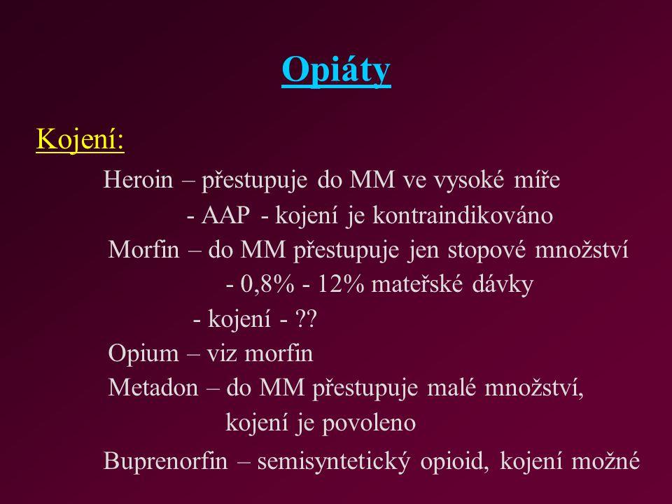 Opiáty Kojení: Heroin – přestupuje do MM ve vysoké míře
