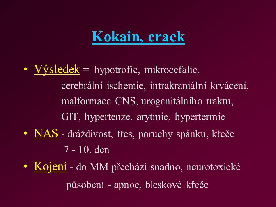 Kokain, crack Výsledek = hypotrofie, mikrocefalie,