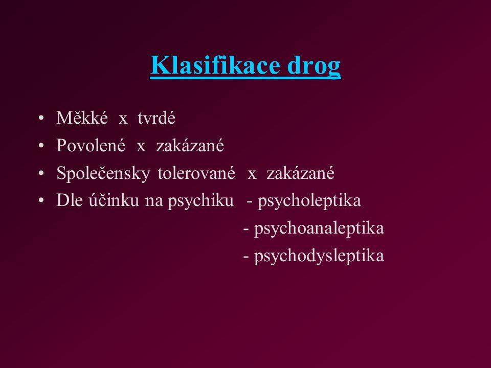 Klasifikace drog Měkké x tvrdé Povolené x zakázané