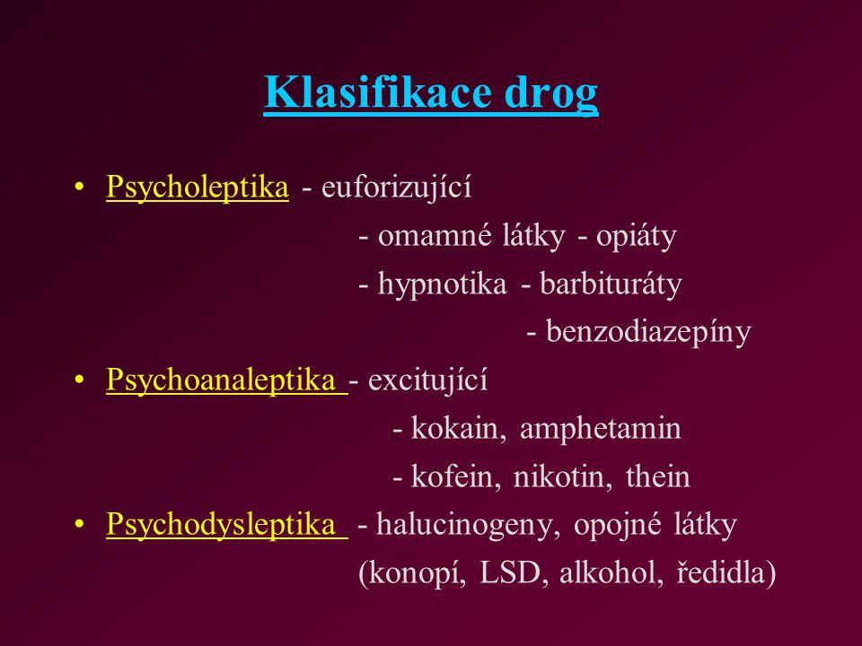 Klasifikace drog Psycholeptika - euforizující - omamné látky - opiáty