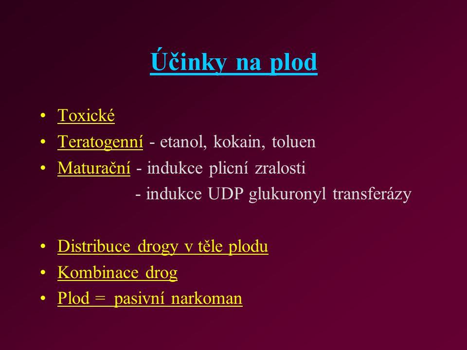 Účinky na plod Toxické Teratogenní - etanol, kokain, toluen