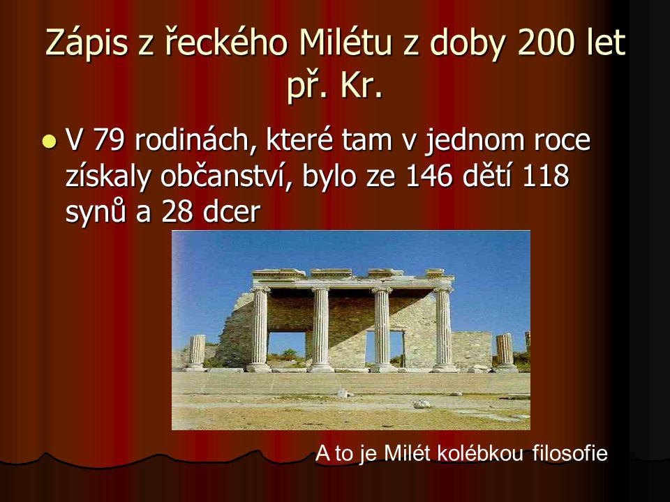 Zápis z řeckého Milétu z doby 200 let př. Kr.
