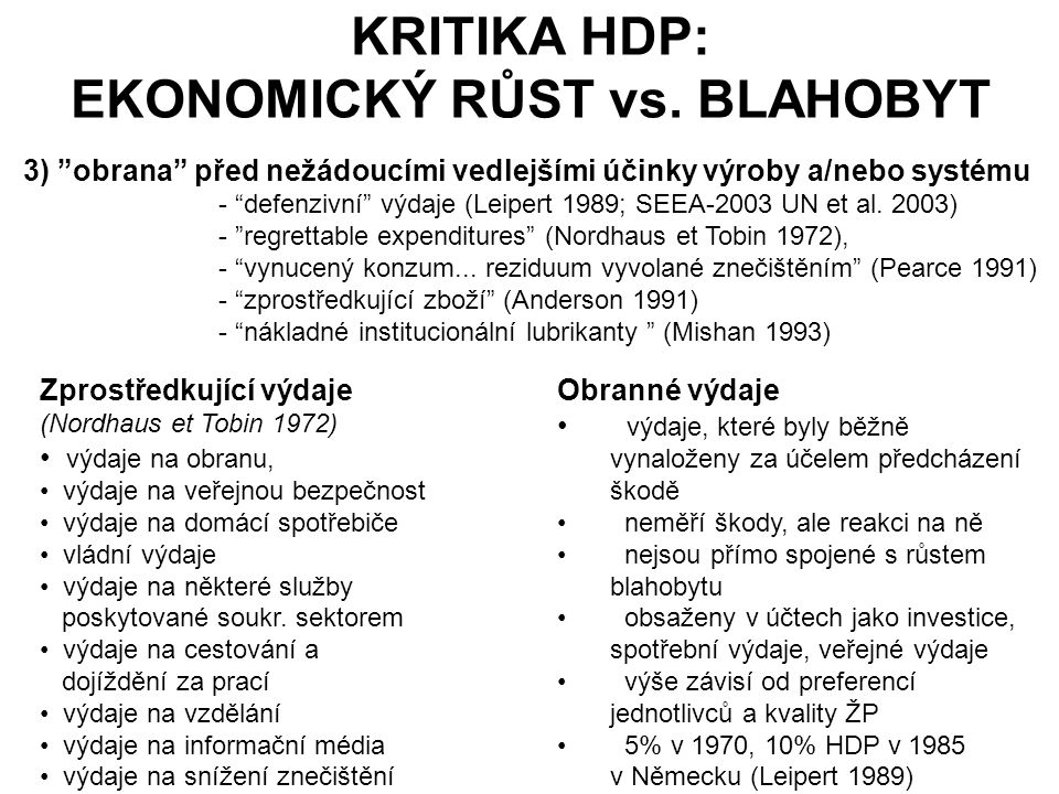KRITIKA HDP: EKONOMICKÝ RŮST vs. BLAHOBYT