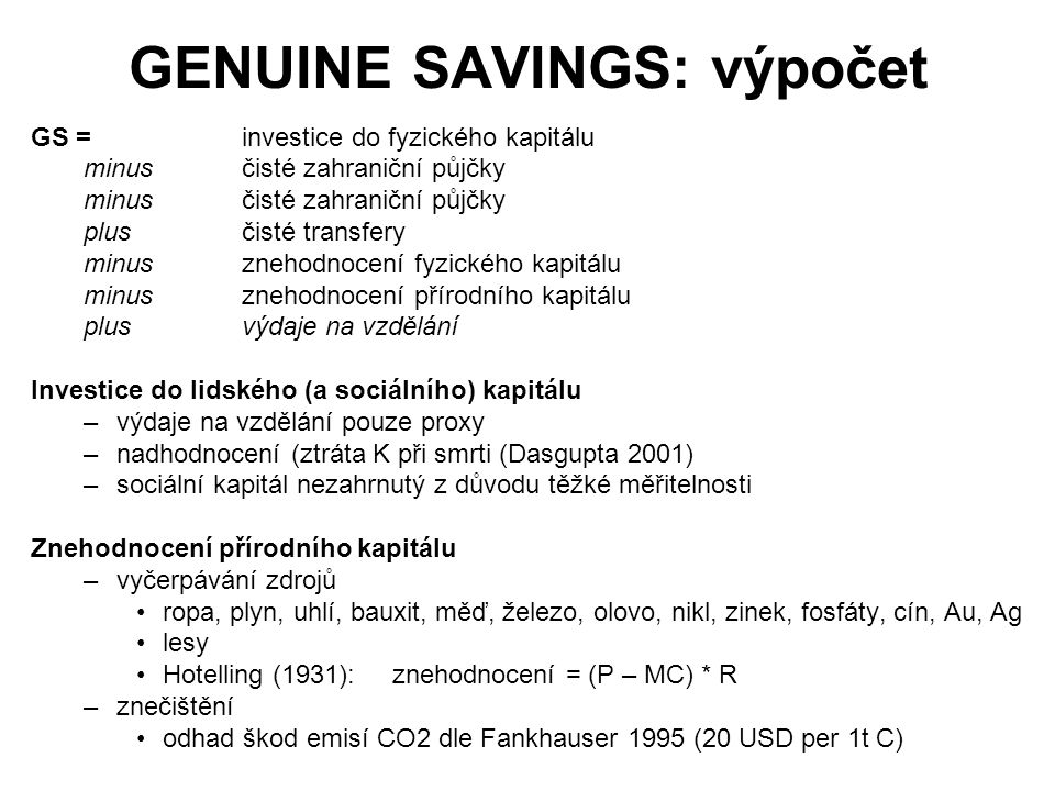 GENUINE SAVINGS: výpočet