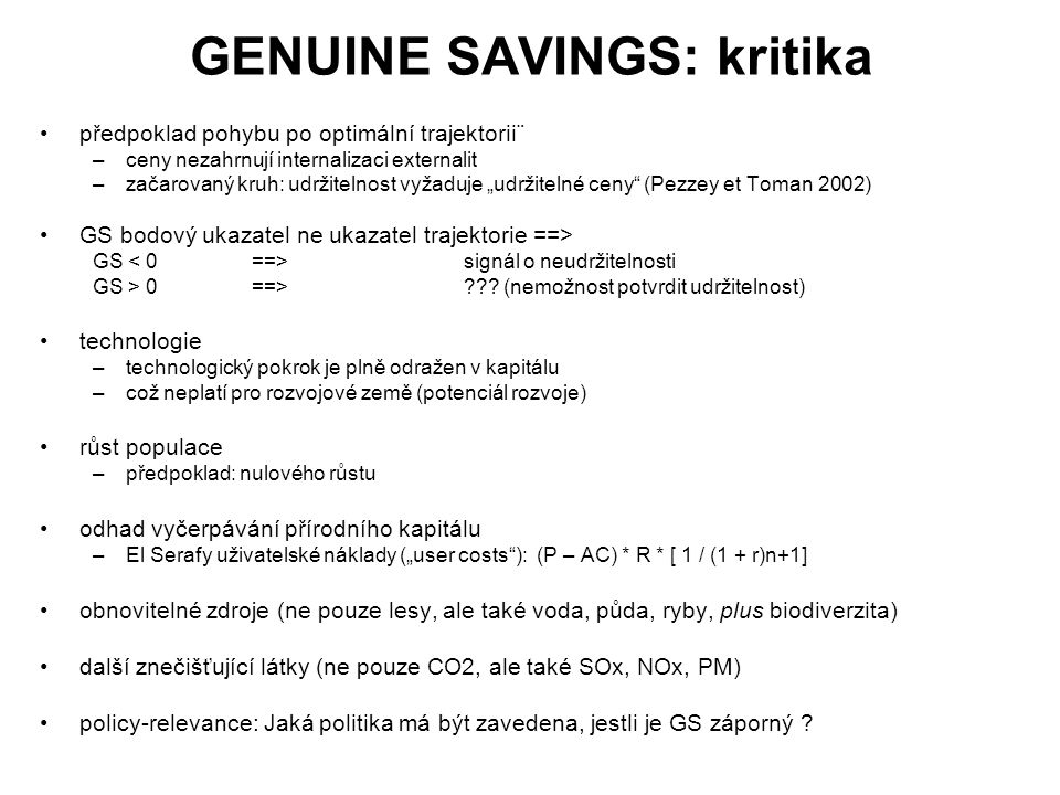 GENUINE SAVINGS: kritika
