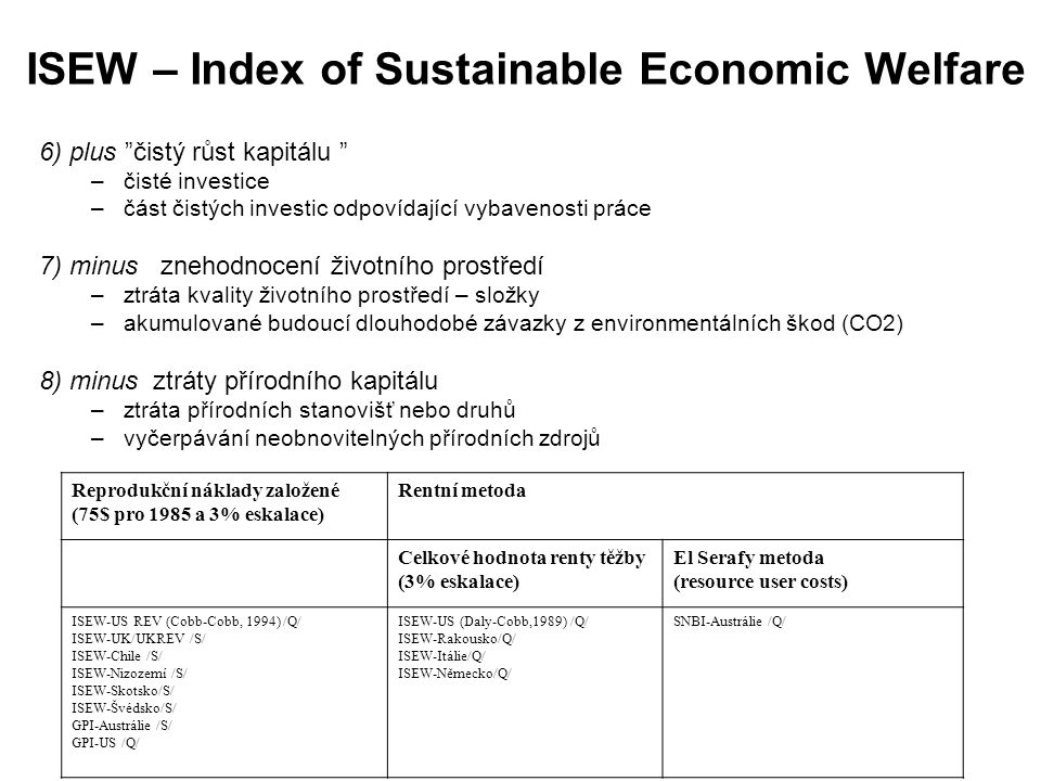 ISEW – Index of Sustainable Economic Welfare
