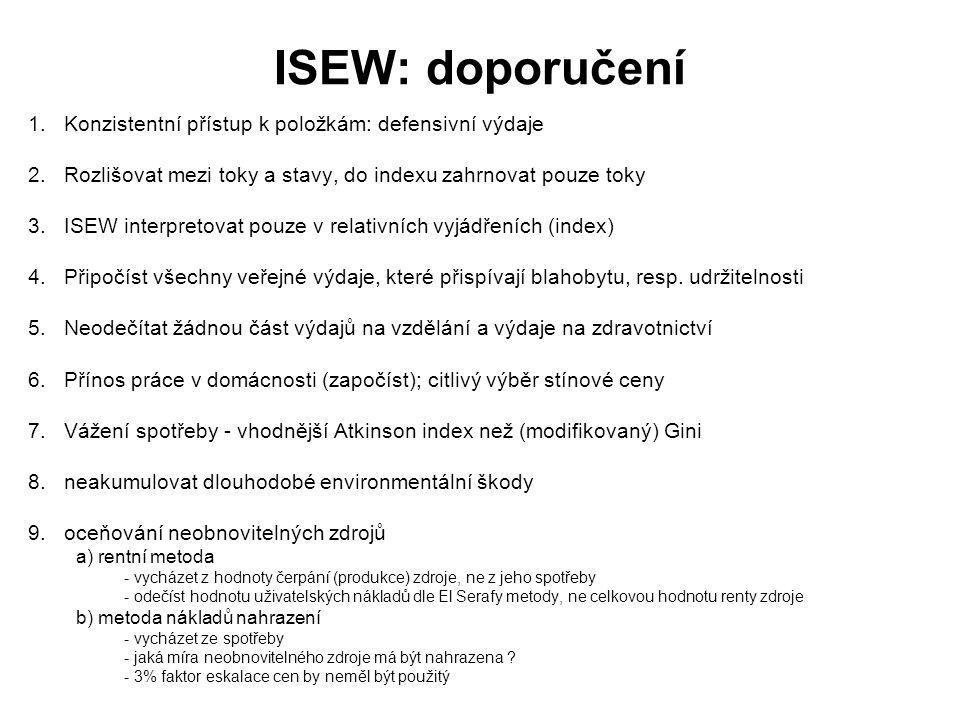ISEW: doporučení 1. Konzistentní přístup k položkám: defensivní výdaje