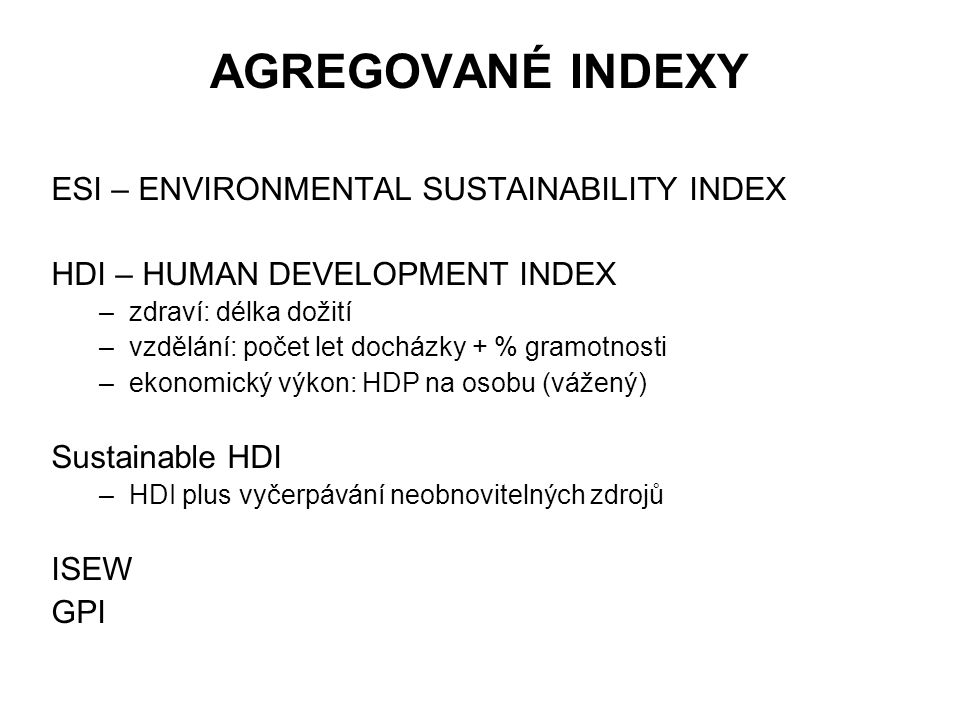 AGREGOVANÉ INDEXY ESI – ENVIRONMENTAL SUSTAINABILITY INDEX