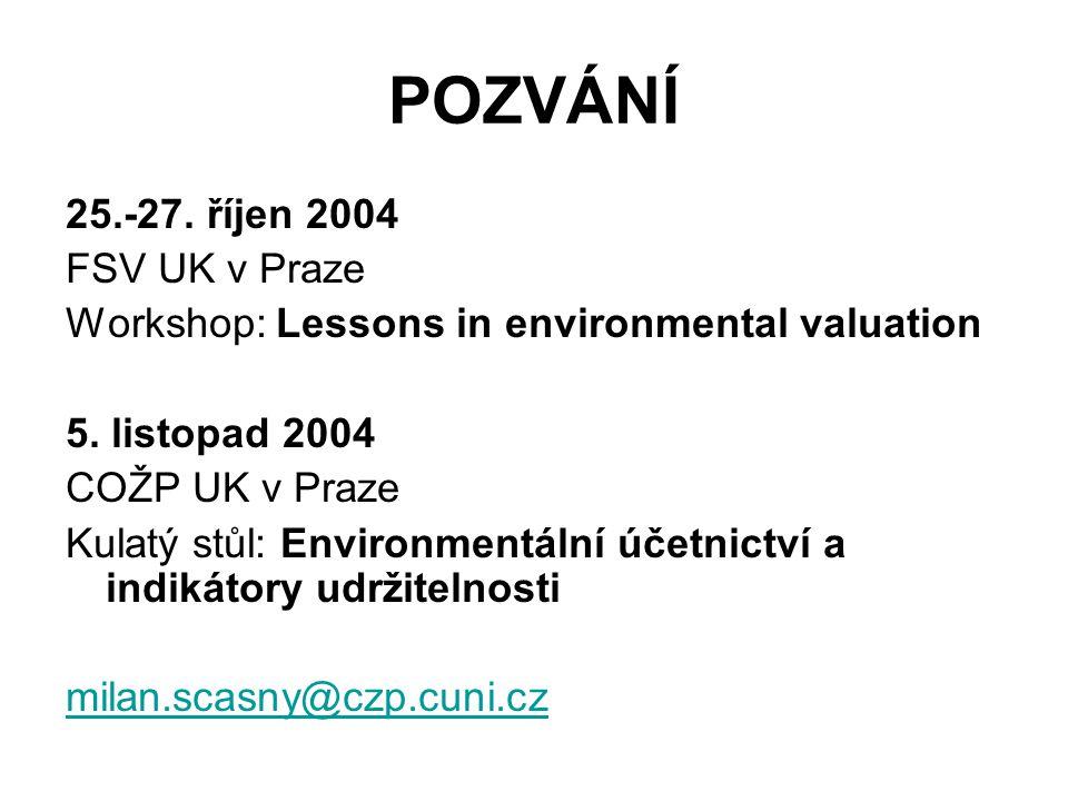 POZVÁNÍ 25.-27. říjen 2004 FSV UK v Praze
