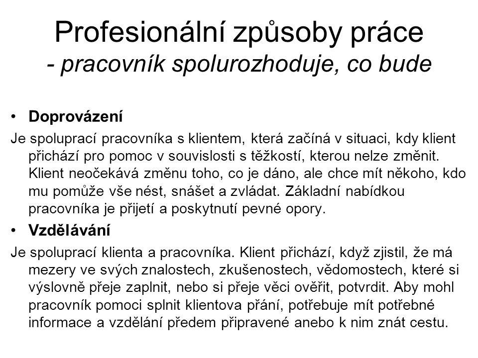 Profesionální způsoby práce - pracovník spolurozhoduje, co bude