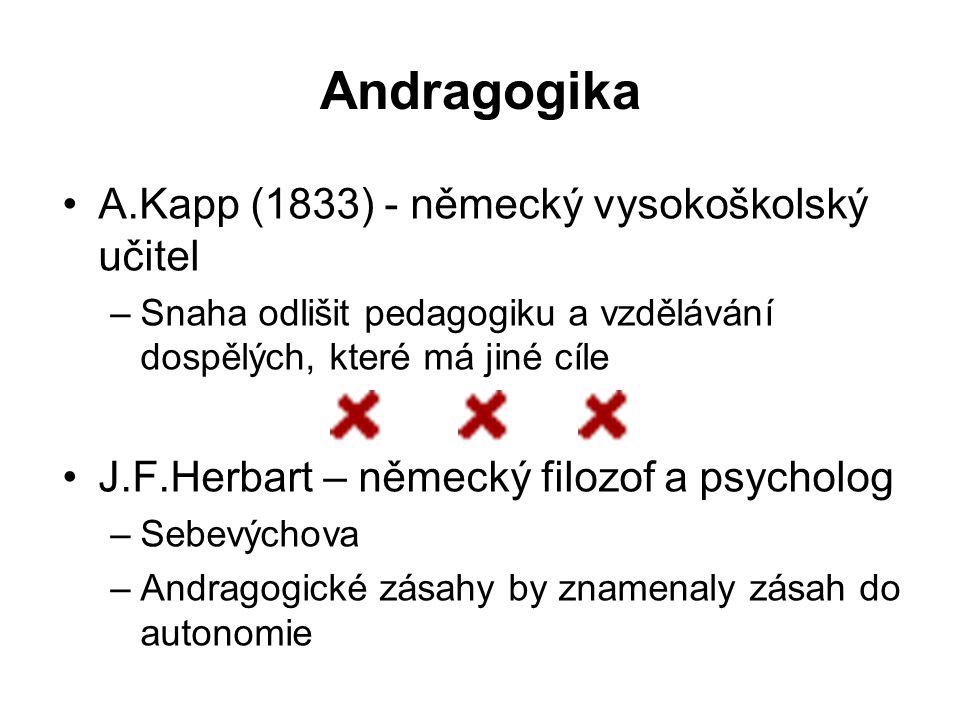 Andragogika A.Kapp (1833) - německý vysokoškolský učitel