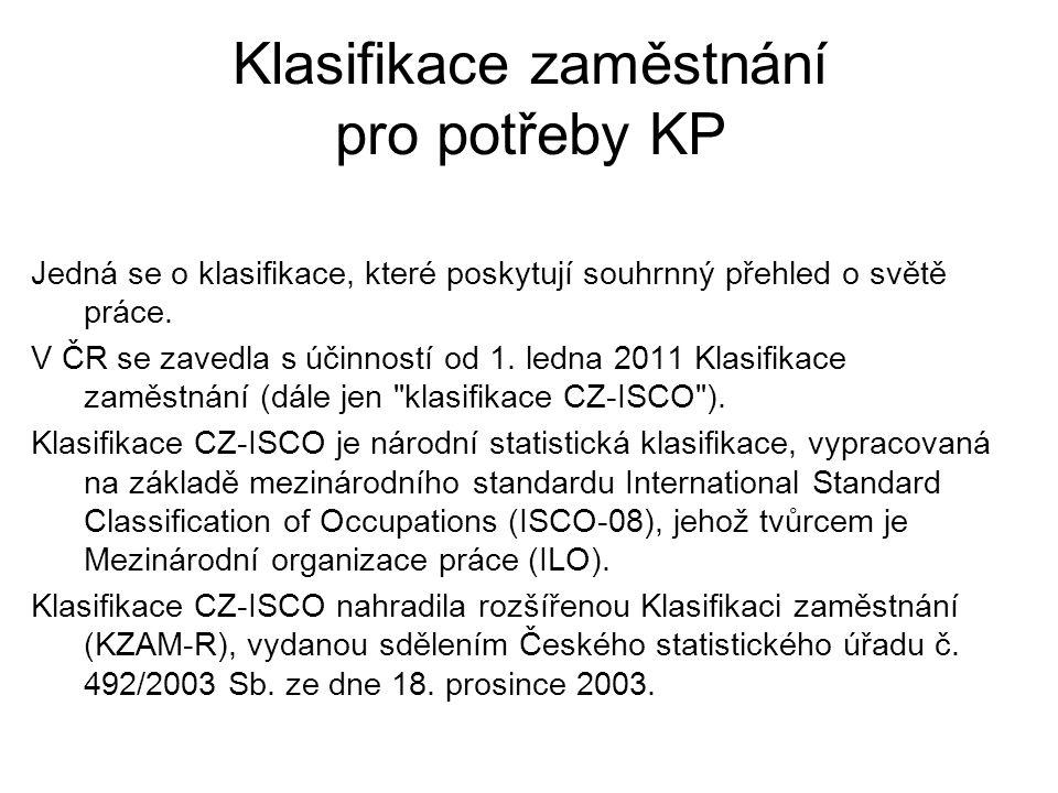 Klasifikace zaměstnání pro potřeby KP
