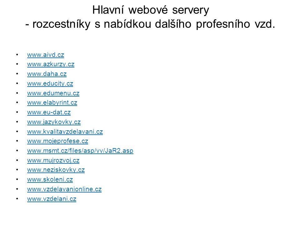 Hlavní webové servery - rozcestníky s nabídkou dalšího profesního vzd.