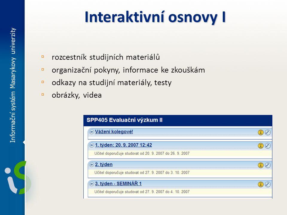 Interaktivní osnovy I rozcestník studijních materiálů