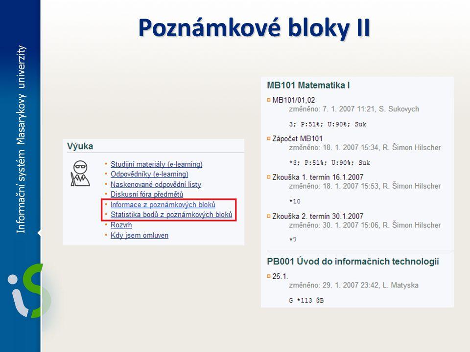 Poznámkové bloky II Informační systém Masarykovy univerzity