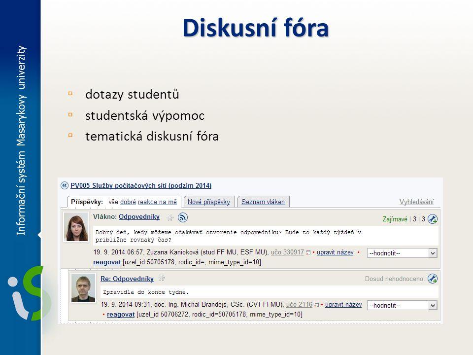 Diskusní fóra dotazy studentů studentská výpomoc