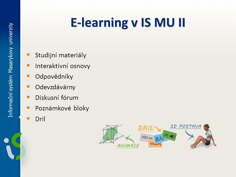 E-learning v IS MU II Studijní materiály Interaktivní osnovy