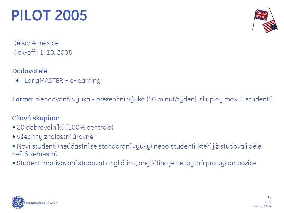 PILOT 2005 Délka: 4 měsíce Kick-off : 1. 10. 2005 Dodavatelé:
