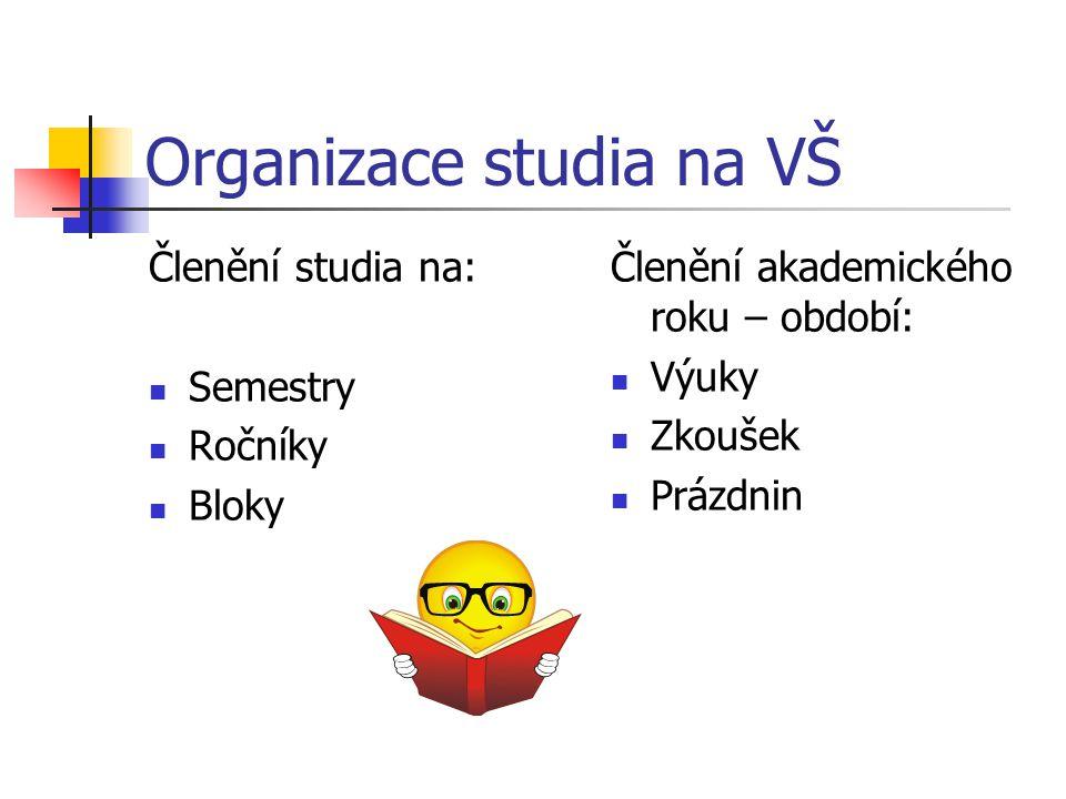Organizace studia na VŠ