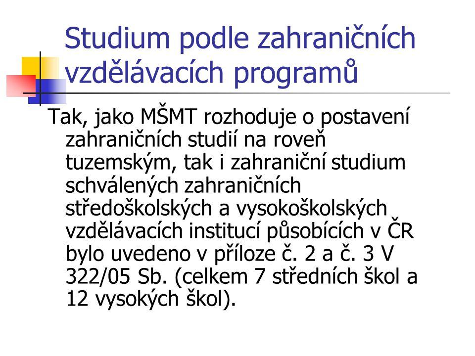 Studium podle zahraničních vzdělávacích programů